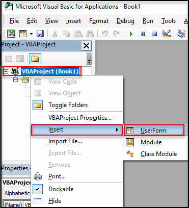 how to create userform in excel